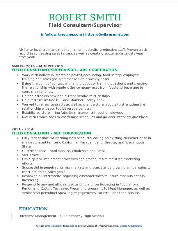 field consultant resume samples