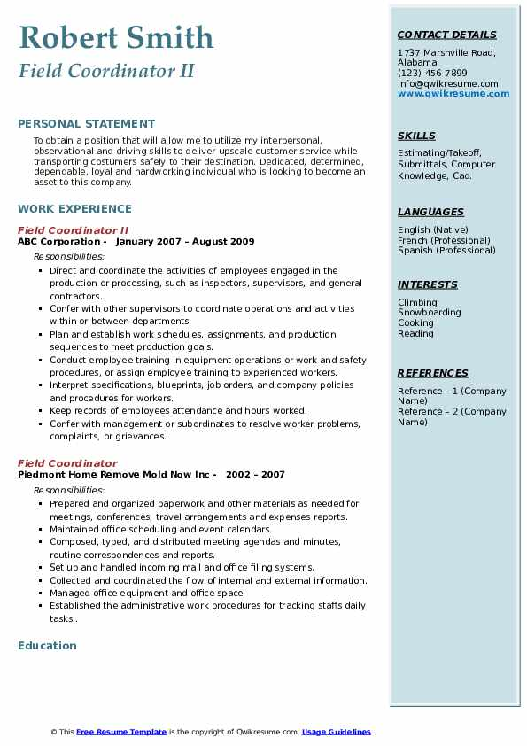 field coordinator resume samples