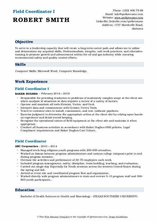 Field Coordinator I Resume Example