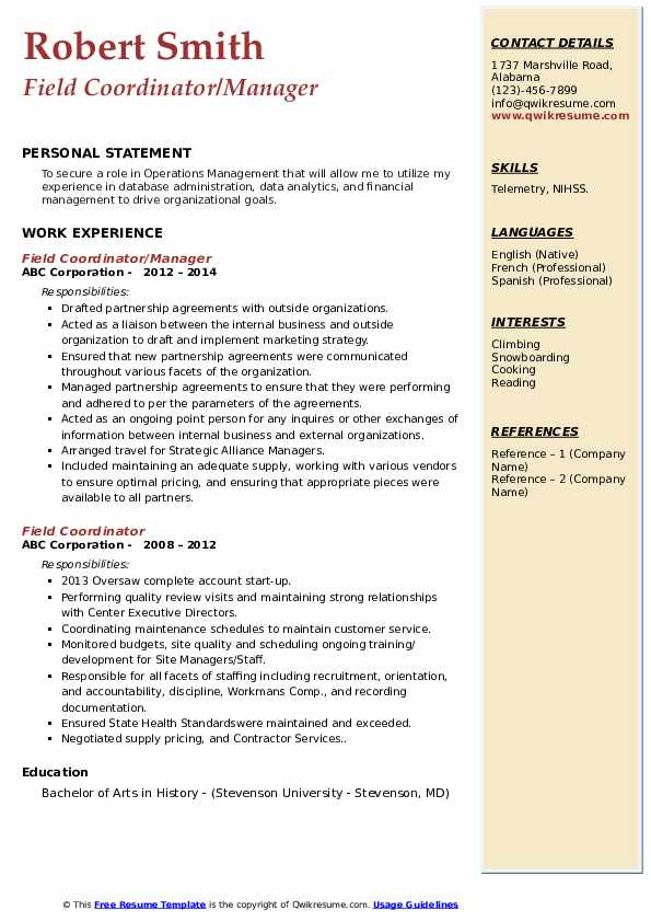 Field Coordinator/Manager Resume Example