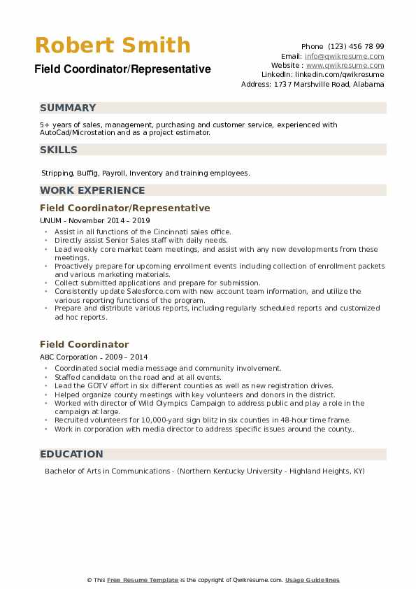 Field Coordinator/Representative Resume Model
