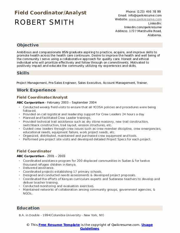 Field Coordinator/Analyst Resume Template