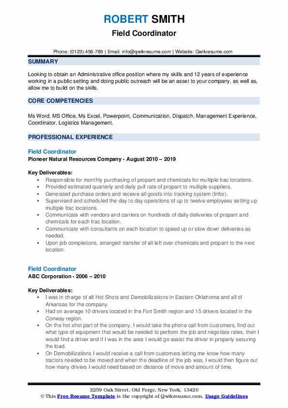 Field Coordinator Resume example