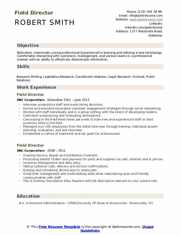 Field Director Resume example