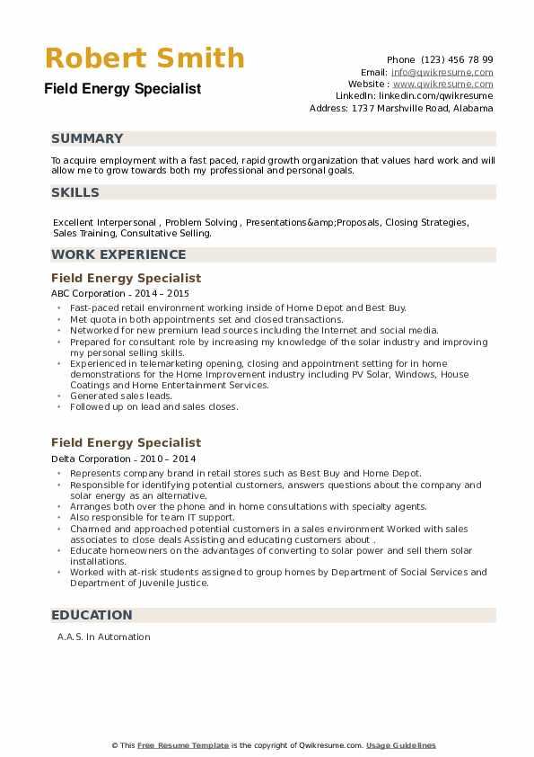 Field Energy Specialist Resume example