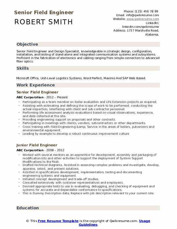 Senior Field Engineer Resume Format