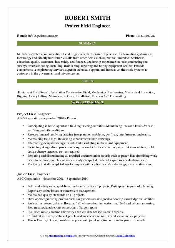 Project Field Engineer Resume Example