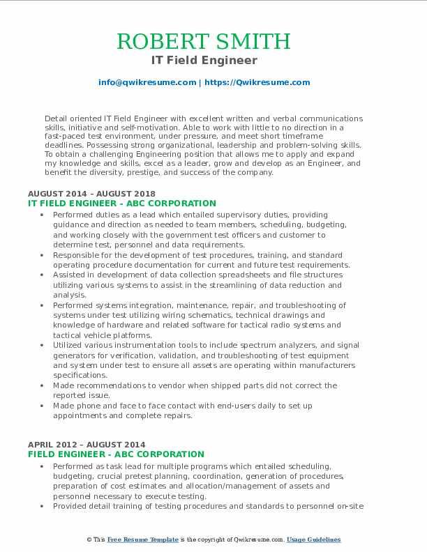 Field Engineer Resume Samples | QwikResume