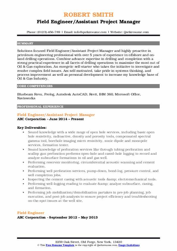 Field Engineer/Assistant Project Manager Resume Sample