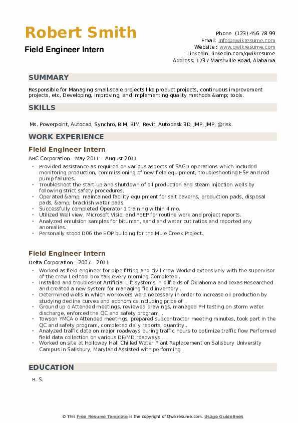 Field Engineer Intern Resume example