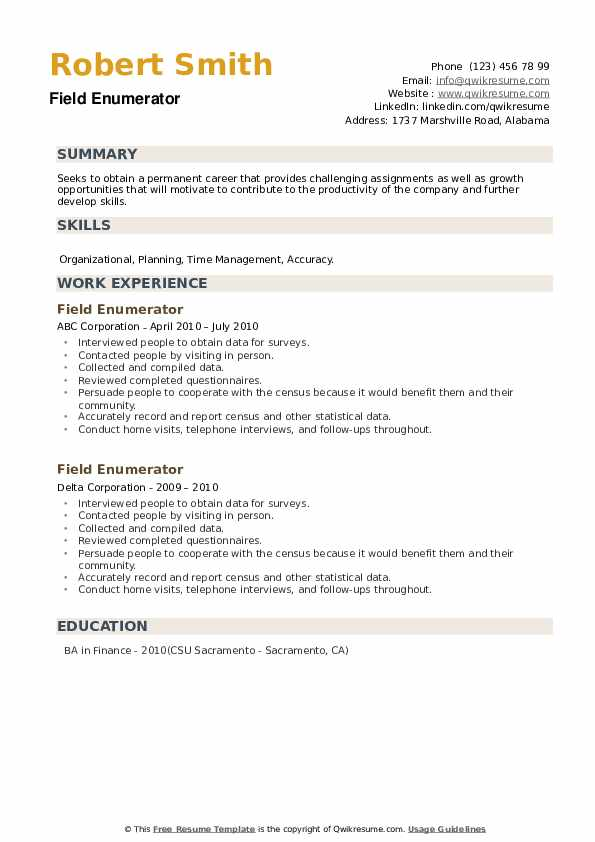 Field Enumerator Resume example