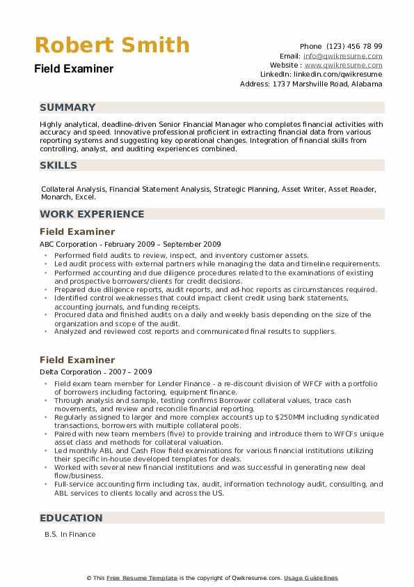 Field Examiner Resume example