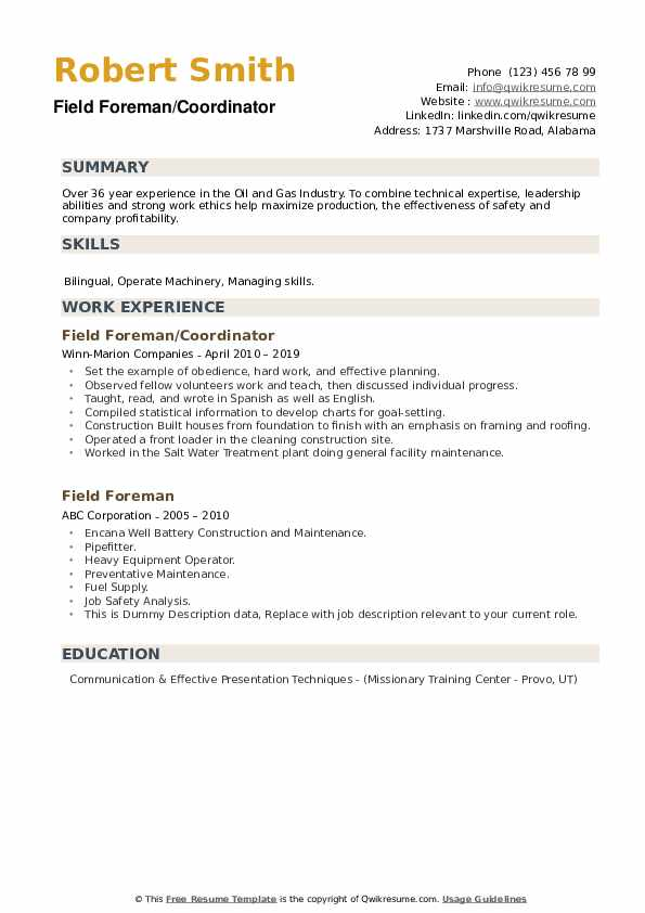 Field Foreman Resume example