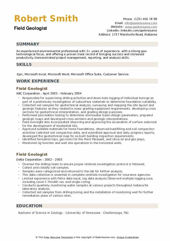 Field Geologist Resume example