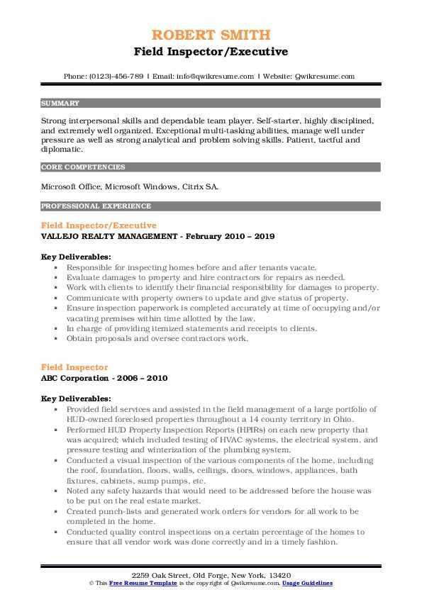 Field Inspector/Executive Resume Model