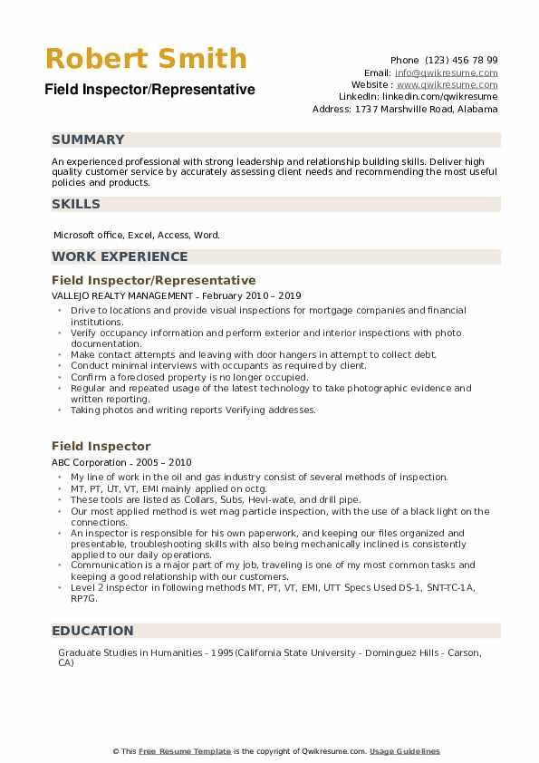Field Inspector/Representative Resume Model