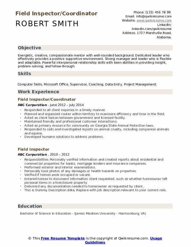 Field Inspector/Coordinator Resume Example