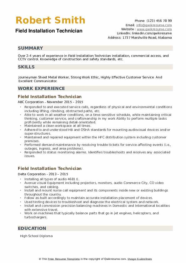 Field Installation Technician Resume example
