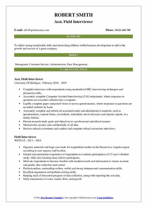 Asst. Field Interviewer Resume Format