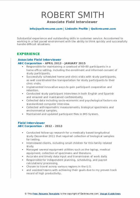 Associate Field Interviewer  Resume Format