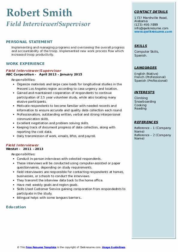 Field Interviewer/Supervisor Resume Sample