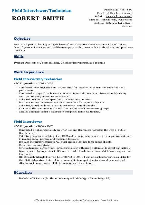 Field Interviewer/Technician Resume Model