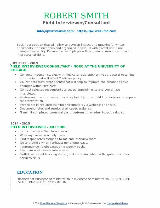 Field Interviewer/Consultant Resume Model