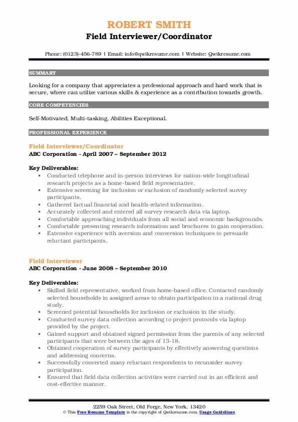 Field Interviewer/Coordinator Resume Format