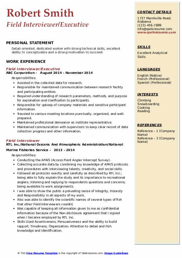 Field Interviewer/Executive Resume Sample
