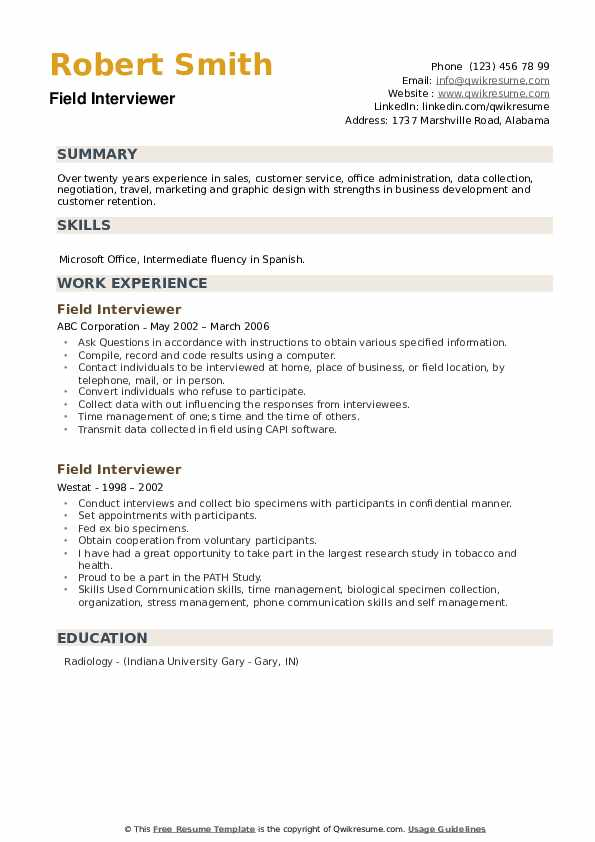 Field Interviewer Resume example