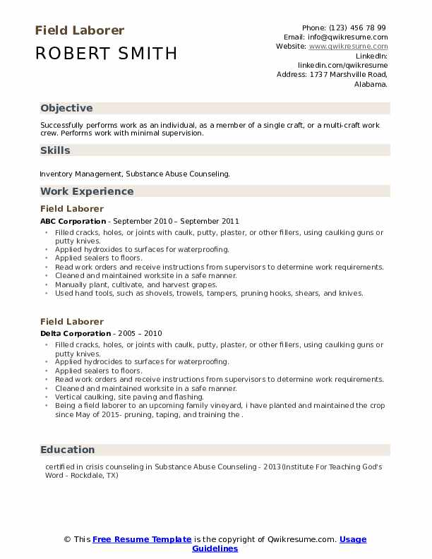 Field Laborer Resume example