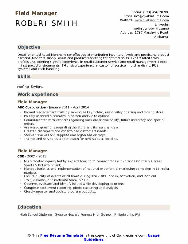 Field Manager Resume Sample