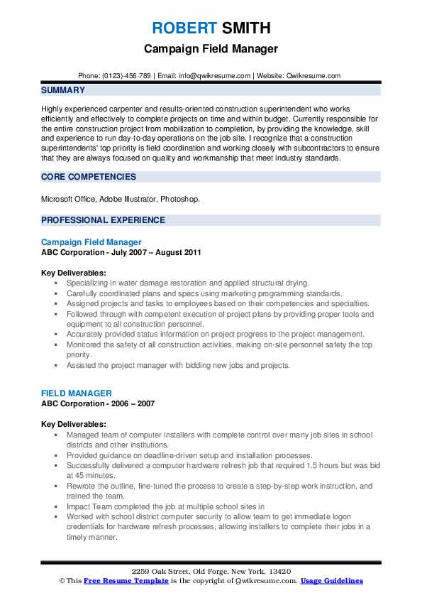 Campaign Field Manager Resume Template