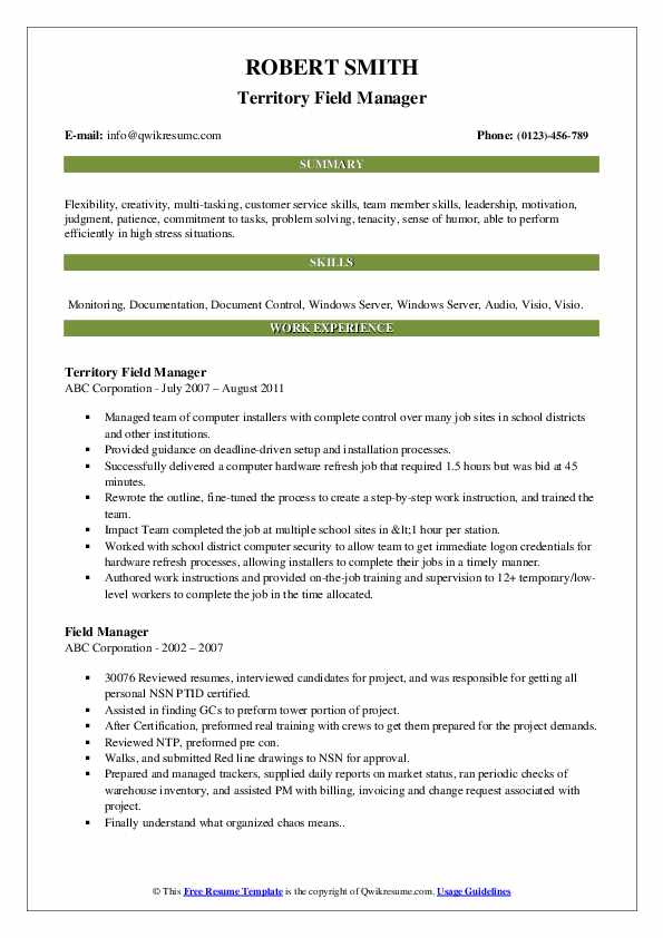 Territory Field Manager Resume Model