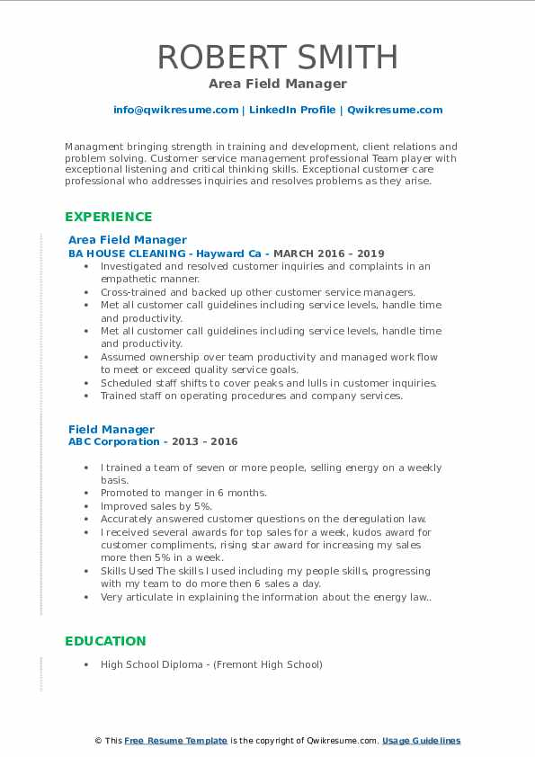 Area Field Manager Resume Sample