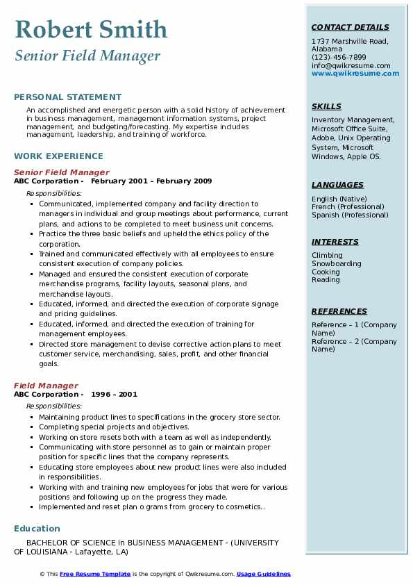 Senior Field Manager Resume Template