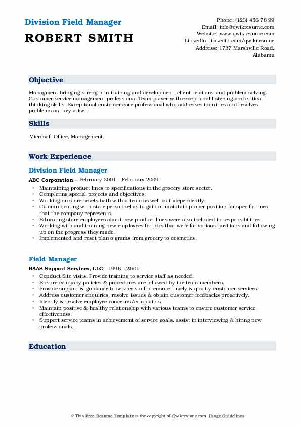 Division Field Manager Resume Format