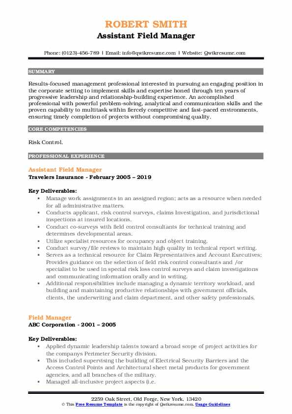 Assistant Field Manager Resume Example