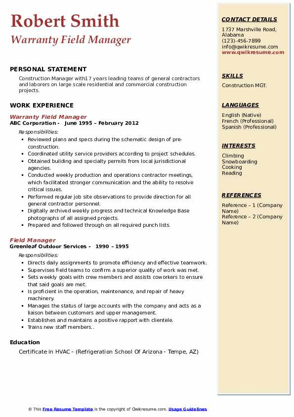 Warranty Field Manager Resume Example