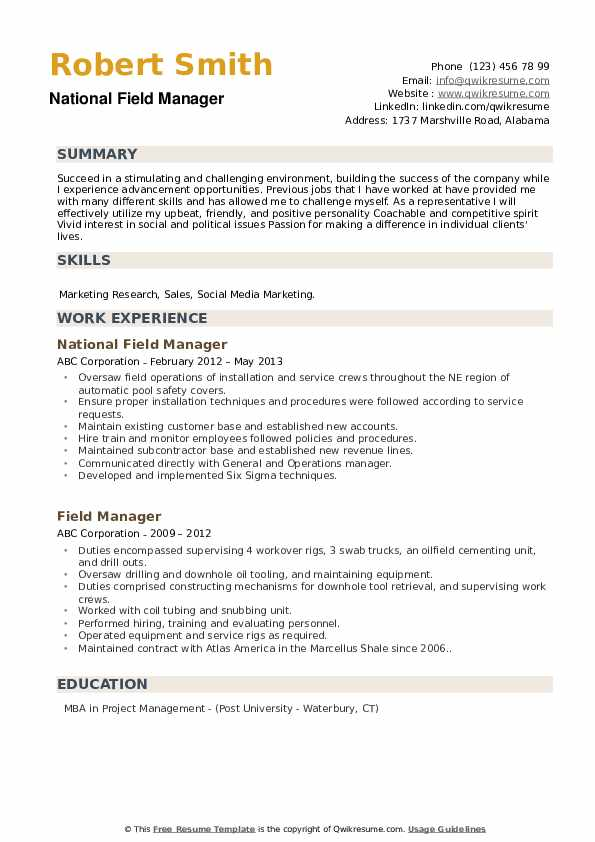National Field Manager Resume Format