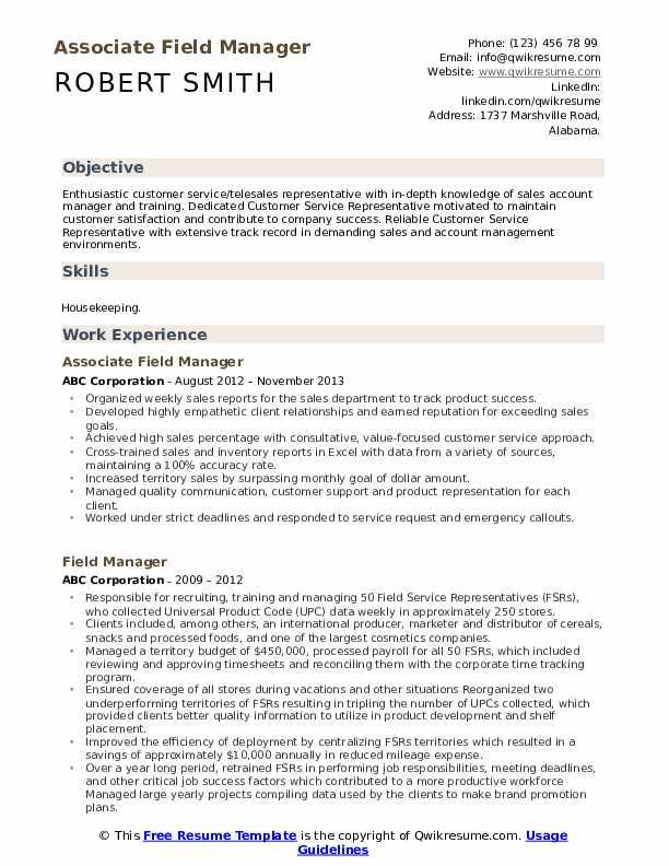 Associate Field Manager Resume Template