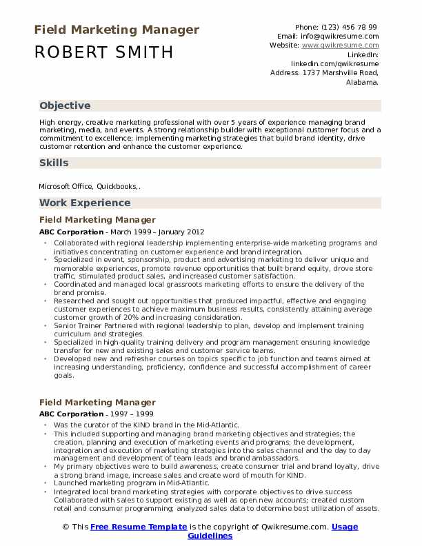 Field Marketing Manager Resume Example
