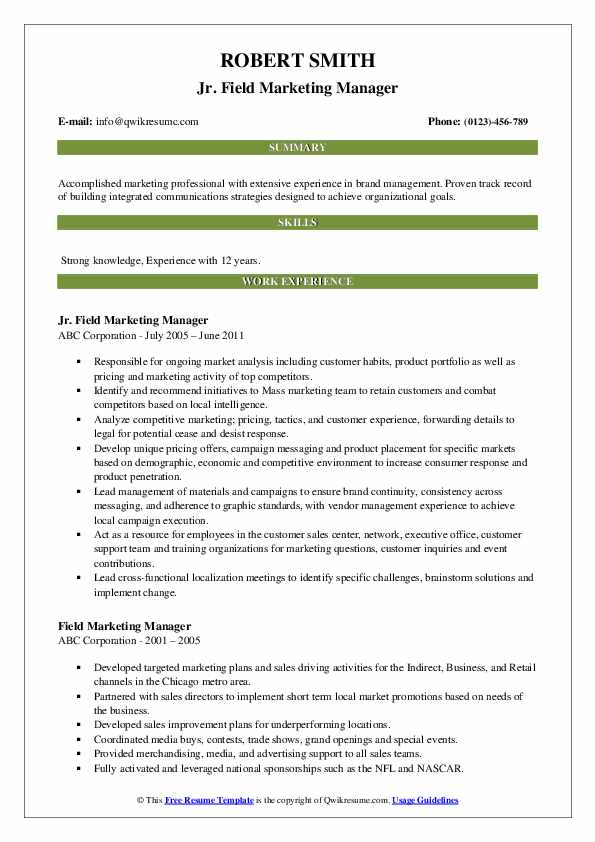 Jr. Field Marketing Manager Resume Format