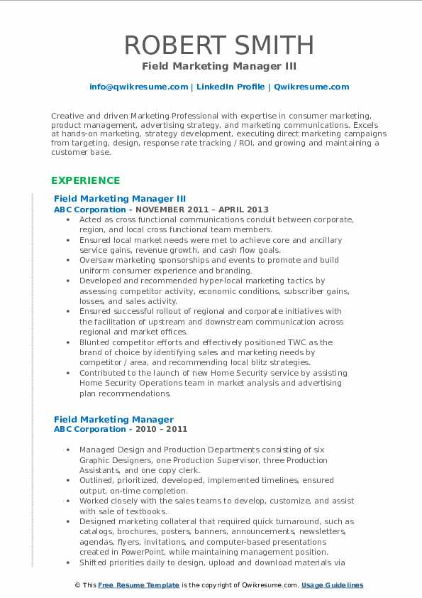 Field Marketing Manager III Resume Model