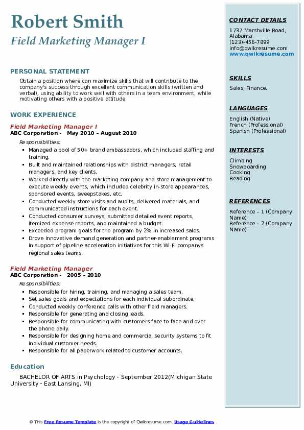 Field Marketing Manager I Resume Format