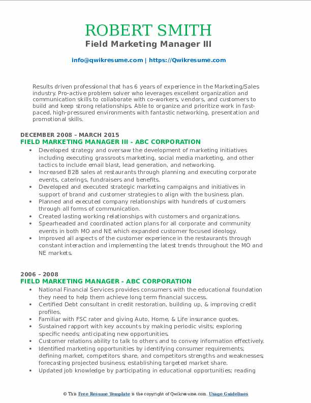 Field Marketing Manager III Resume Sample