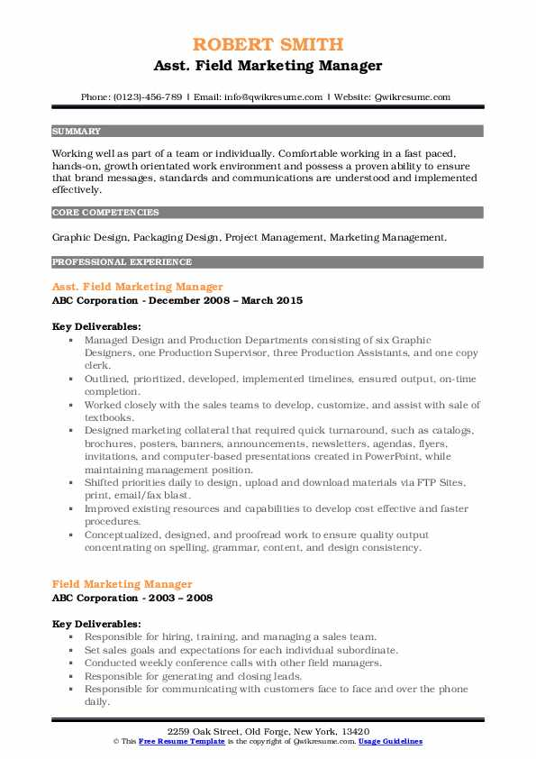 Asst. Field Marketing Manager Resume Sample