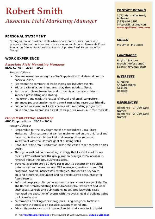 Associate Field Marketing Manager Resume Format