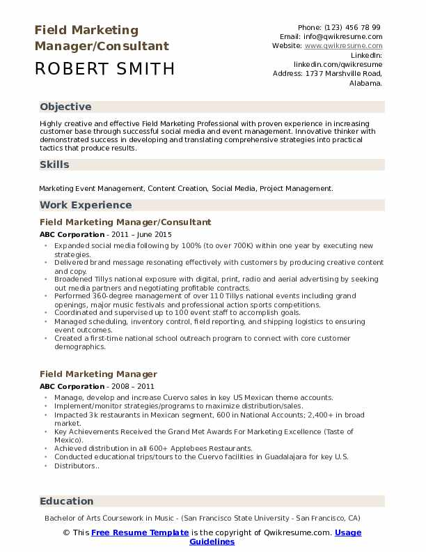 Field Marketing Manager/Consultant Resume Model