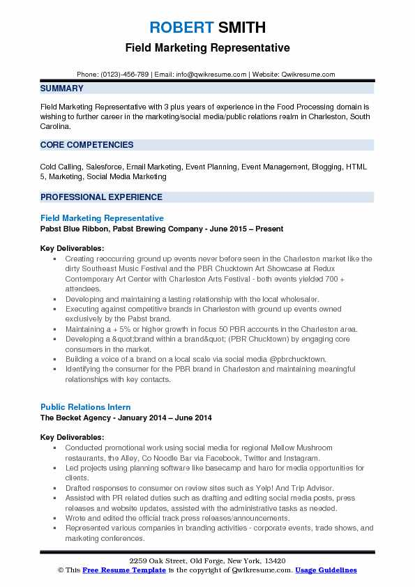 Field Marketing Representative Resume Format